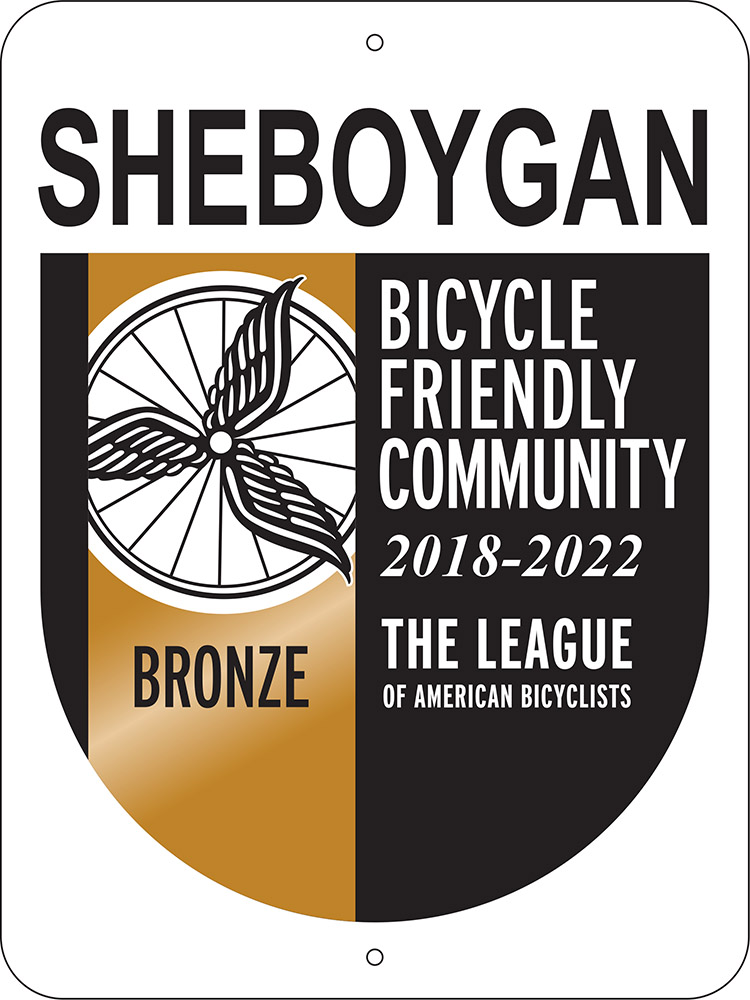 Bicycle Friendly Community Sheboygan sign 2018